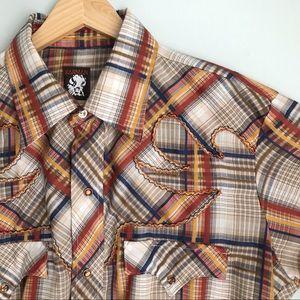 Vintage KARMAN Plaid Western Pearl Snap Shirt